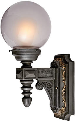 Rejuvenation Large Cast Iron Entry Sconce w/ Gilt Highlights