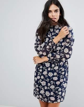 Yumi High Neck Dress In Rose Print