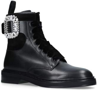 Roger Vivier Viv' Rangers Strass Buckle Ankle Boots