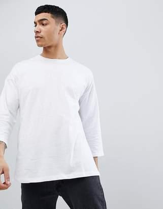 Asos Design Oversized Long Sleeve T-Shirt With 3/4 Sleeve