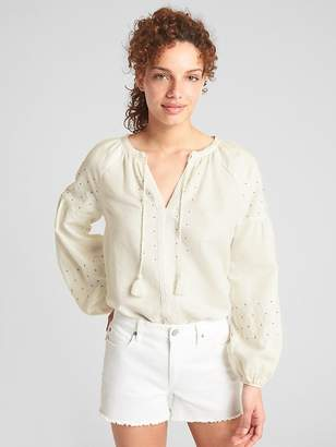 Gap Embroidered Tie-Neck Blouse in Linen-Cotton
