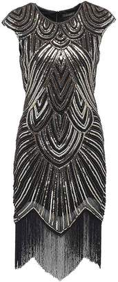 Uniq Sense Women's 1920s Flapper Dresses - Sequined Beaded Fringed Emblished Great Gatsby Dresses (, XS)