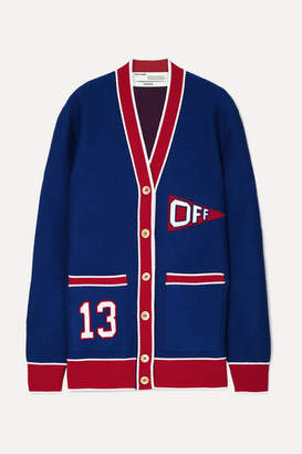 Off-White Off White Intarsia Wool-blend Cardigan - Blue