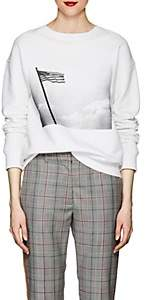 "Calvin Klein Women's ""American Flag"" Cotton Terry Sweatshirt - White Black"