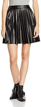 New Look Women's Pu Pleated Plain Skirt