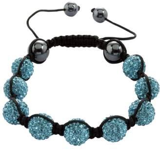 Burgmeister Jewelry-Ladies Shamballa Bracelet-Aqua length adjustable, various stones on JBM 1150–598 Fabric Black