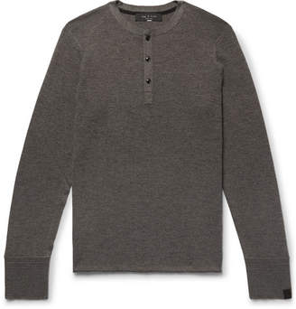 Rag & Bone Gregory Slim-Fit Merino Wool-Blend Henley T-Shirt - Mushroom