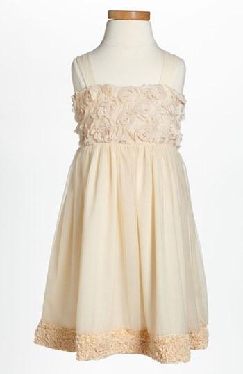Ruby & Bloom 'Simone' Rosette Dress (Little Girls) Sand- Dollar 5