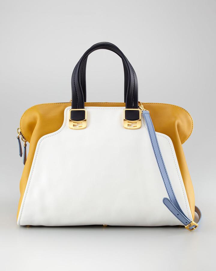 Fendi Chameleon Colorblock Satchel Bag, Large