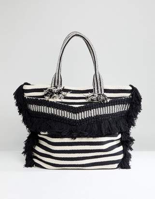 Whistles Niko Striped Woven Tote