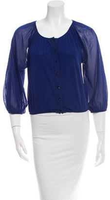 Jean Paul Gaultier Mesh Button-Up Top w/ Tags $125 thestylecure.com