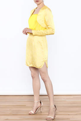 Dawn Sunflower Short Spaghetti-Strap Dress And Mini Jacket Set