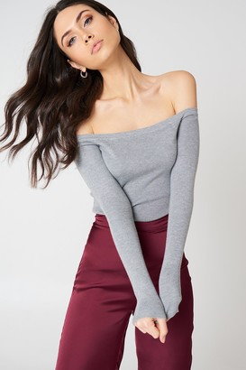 NA-KD Na Kd Light Knit Off Shoulder Sweater Grey