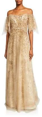 Rene Ruiz Collection Sheer Off-the-Shoulder Beaded Gown