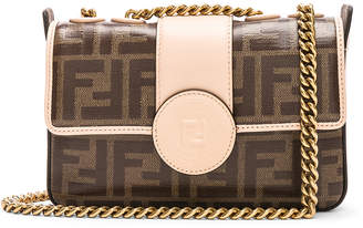Fendi Mini Logo Print Double F in Brown & Plaster | FWRD