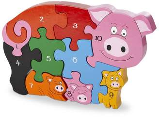 Wood Like To Play Handmade Wooden Number Pig And Piglets Puzzle