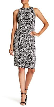 London Times Printed Cut Away Shoulder Dress