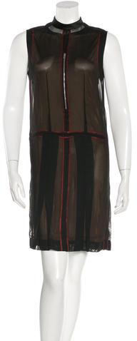 CelineCéline Mesh Mock Neck Dress