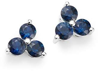 Bloomingdale's Sapphire Three Stone Stud Earrings in 14K White Gold - 100% Exclusive
