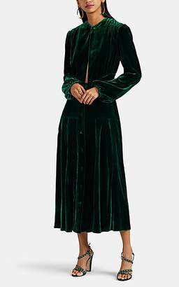 RAQUEL DINIZ Women's Terry Silk Velvet Keyhole-Neck Maxi Dress - Green