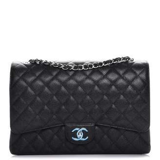 Chanel Double Flap Quilted Diamond Maxi Black
