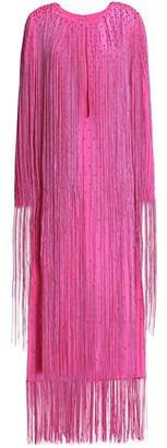 Emilio Pucci Fringed Cutout Silk-Crepe Midi Dress