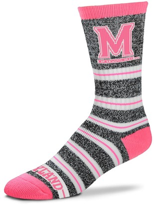 For Bare Feet Women's Maryland Terrapins Striped Crew Socks