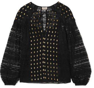 Temperley London Wondering Lace-paneled Fil Coupé Georgette Blouse - Black