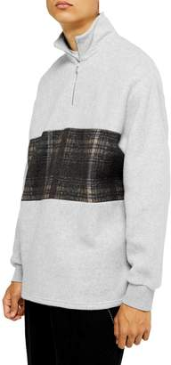 Topman Check Panel Quarter-Zip Sweatshirt