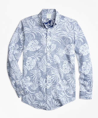 Brooks Brothers Milano Fit Reverse Palm Tree Print Sport Shirt