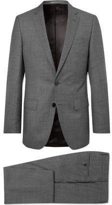 HUGO BOSS Grey Slim-Fit Melange Super 130s Virgin Wool Suit - Men - Gray