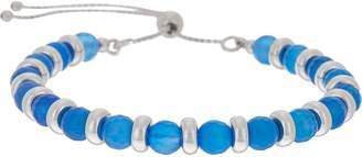 White Bronze Adjustable Gemstone Bracelet by Bronzo Italia