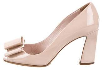 Miu Miu Bow-Accented Peep-Toe Pumps