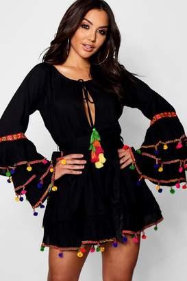 boohoo Tassel Trim Flare Sleeve Beach Dress