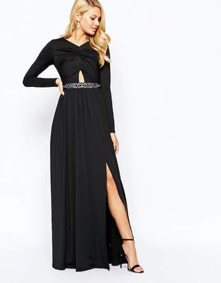 Little Mistress Knot Front Maxi Dress with Embellished Waist and Cut Out Detail
