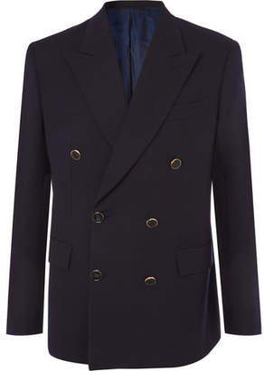Brioni Midnight-Blue Double-Breasted Wool-Twill Blazer