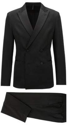 BOSS Hugo Slim-fit double-breasted tuxedo silk lapels 36R Black