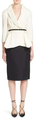 Carolina Herrera Nordstrom x Belted Silk Wrap Blouse