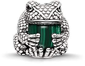Thomas Sabo Women's 925 Sterling Silver Blackened Zirconia Malachite Green Simulated Frog Karma Beads