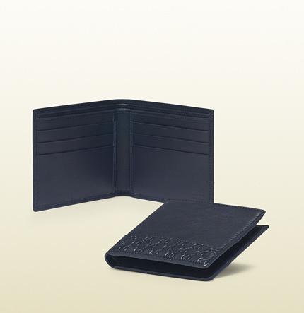 Gucci Blue Leather Bi-Fold Wallet