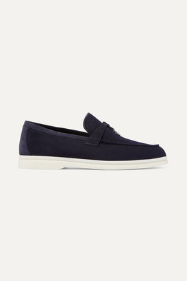 Loro Piana Summer Charms Suede-trimmed Cashmere Loafers - Navy
