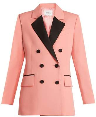 Racil - Paris Double Breasted Contrast Lapel Wool Blazer - Womens - Pink