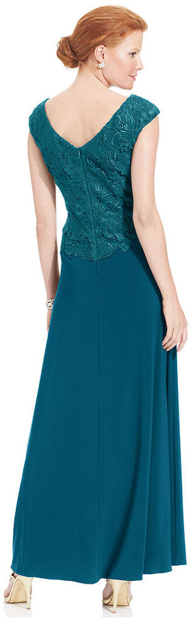 Patra Petite Dress, Cap-Sleeve Lace Chiffon Gown