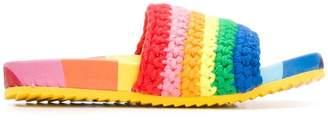 Mira Mikati knitted rainbow slides