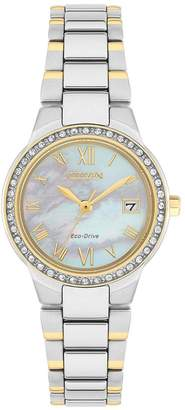 Citizen Eco-Drive Silhoutte Crystal Mother Of Pearl Dial Two Tone Stainless Steel Bracelet Ladies W