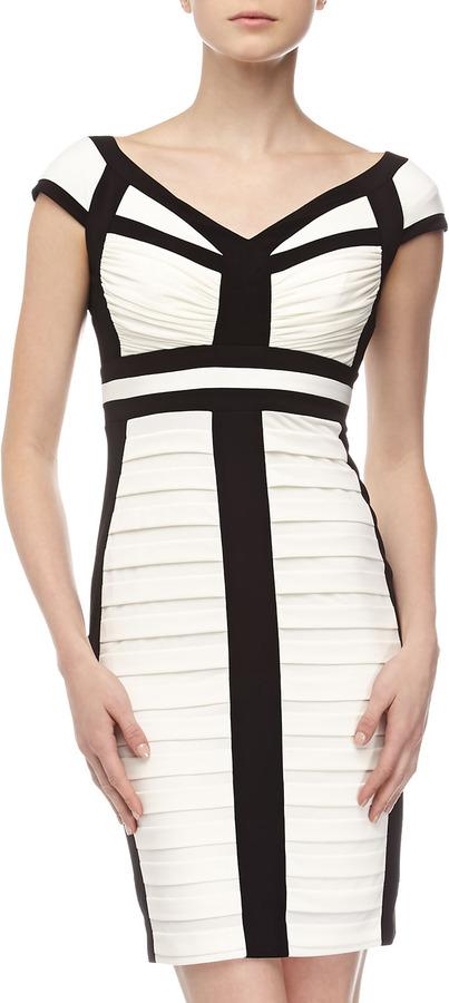 Jax Ruched-Bodice Cocktail Dress, Ivory/Black
