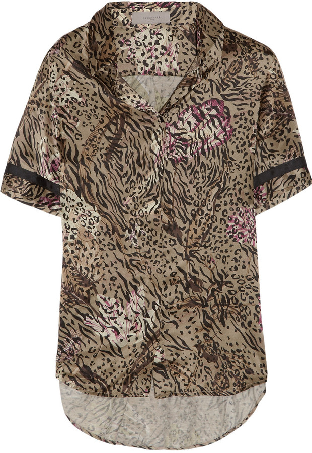 Preen Line Fred printed silk-satin and georgette top