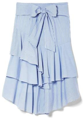 Vince Camuto Mixed-stripe Ruffle Skirt