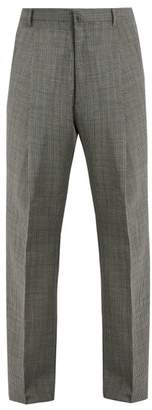 Lanvin Wide Leg Checked Wool Trousers - Mens - Grey