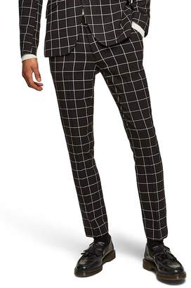 Topman Windowpane Check Skinny Suit Trousers
